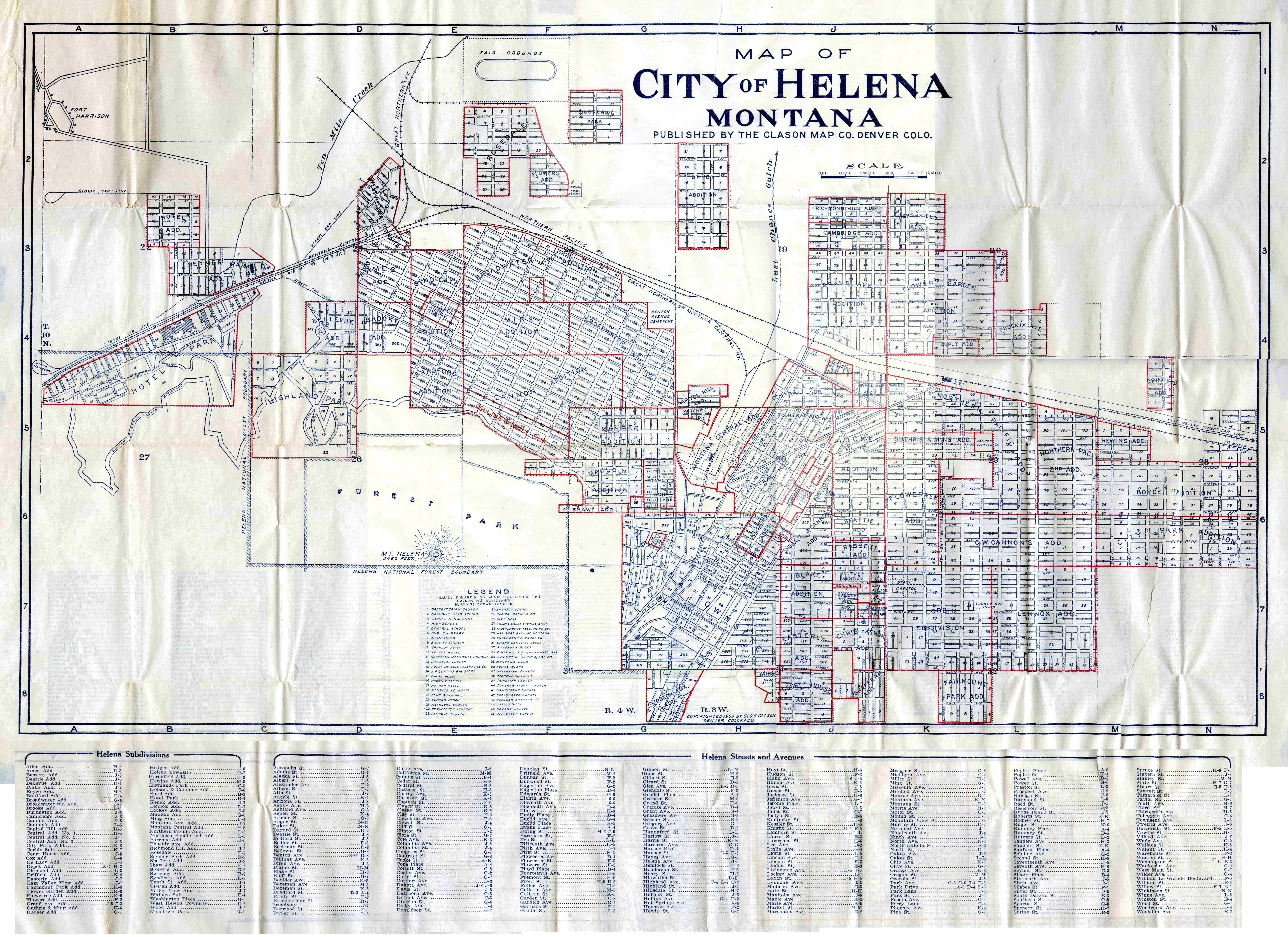1909 Helena Map