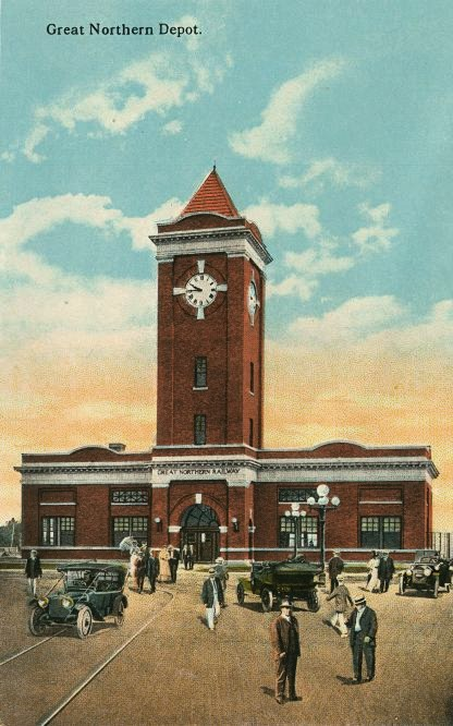 Captivating 1920s Postcard View Of The Great Northern Railway Depot. Constructed In  1912 13, The G.N. Depot Was Located At The Intersection Of Neil Avenue And  Fuller, ...
